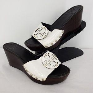 Tory Burch Patti White Patent Leather Wedge Sandal